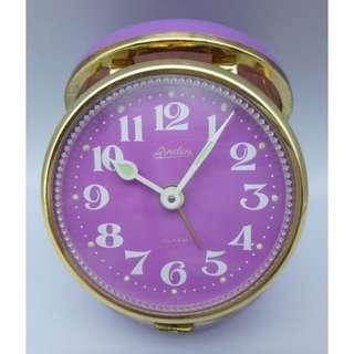 70's 日本制 Linden-紫色 座檯 手動上練 響鬧鐘 附原裝盒+說明頁