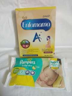 Enfamama A+ Chocolate 350g/ FREE 2Pampers NB