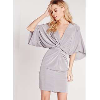 MISSGUIDED slinky kimono mini dress grey size 8