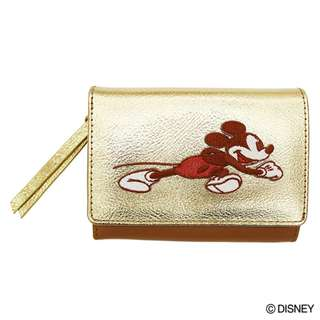Japan Disney Accommode Mickey Mouse Gold Leather Wallet