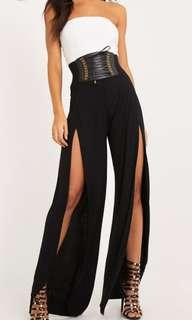 Discounted High Waist Black Split Pants