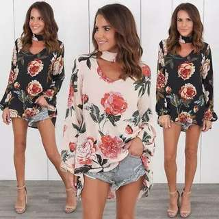 (PO)chiffon long sleeve floral top..