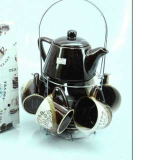13 Pieces Coffee Set with Metal Rack