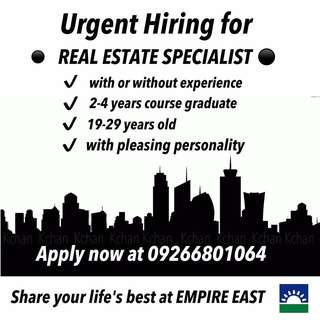 We need 10 Full time Real Estate Specialist