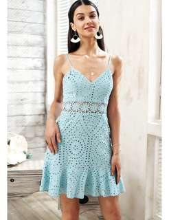 PO - Strap hollow out lace Cotton embroidery dress (2 colors)