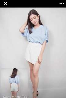Baby Blue V Neck Top / Blouse
