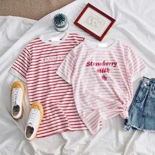 🚚 🛒草莓牛奶拼色寬鬆短袖T恤上衣