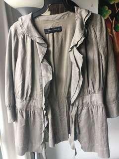 Zara Olive Green Ruffles Jacket