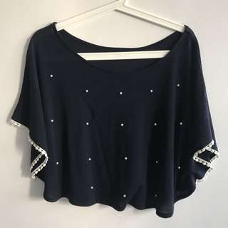 Navy Blue Top With Pearls