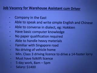 Vacancy for Warehouse Assistant cum Driver