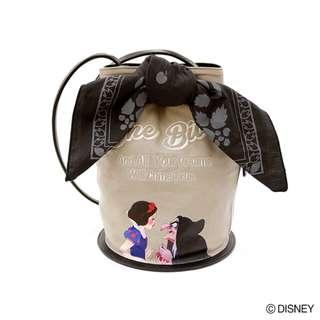 Japan Disney Accommode Snow White Gray Shoulder Drawstring Bag