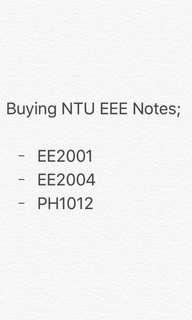 Buying EEE NTU Notes: EE2001; EE2004; PH1012