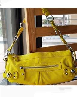 Authentic By Malene Birger Bright yellow studded zip genuine leather hobo