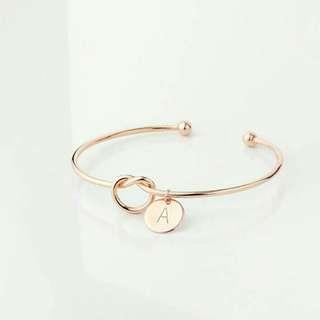 Erza Knotted Bangle with Customisable Letter Plate