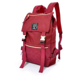 AT-B1493 [Anello] Wine Nylon Golden Buckle Backpack   100% GENUINE !