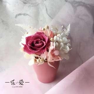 🚚 樂愛L'e Love 粉白色療癒系永生盆花 送禮 生日 畢業
