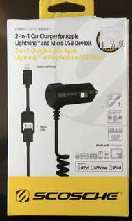 Scosche 2 in 1 Car Charger for Apple Lightning and Micro USB Devices