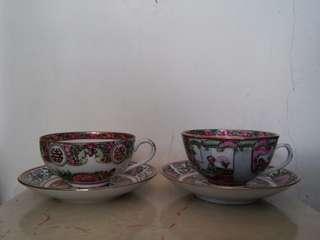 大清乾隆年製廣彩陶瓷杯碟每款圖案各1(共兩套)