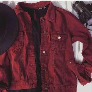 Bershka Jacket Jeans Maroon