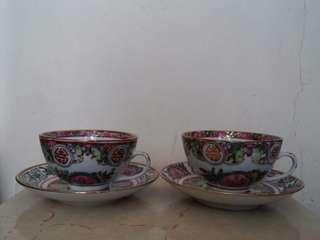 大清乾隆年製廣彩陶瓷杯碟2套