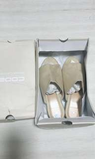 Brand new slip on shoes sandals slippers pearl Gold heel