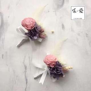 🚚 樂愛L'e Love 粉白紫色系不凋永生胸花