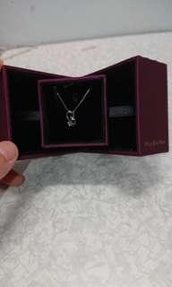 MaBelle白色黃金 鑽石鑲嵌 吊咀頸鏈