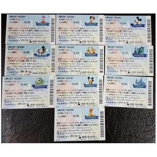 (3A) EMPLOYEE PASSPORT (非賣品) - TOKYO DISNEY 入場劵 10款, $1200 包郵