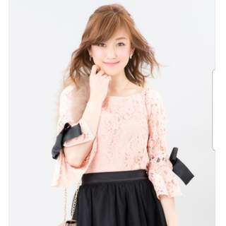 100% Authentic Cherry Ann Japanese Luxury Brand Ribbon Lace Quarter Sleeves Top | Japanese & Kawaii Style | Imported from Japan | Brand New | Stylish Fashionable Trendy Nice Gorgeous | Best Woman Fashion