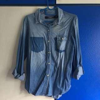 Giordano casual denim button shirt