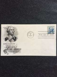US 1966 5c George Washington Coil FDC stamp