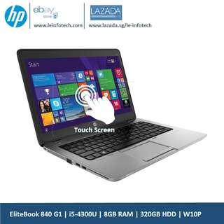 HP Elitebook 840 G1 Touchscreen Notebook 14in i5-4300U@1.9Ghz 4th Gen 8GB RAM 320GB HDD Win 10 Pro Used 30 days warranty