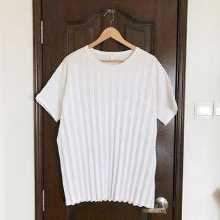 COS Oversized Pleated Tee Top in White, L