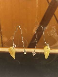 黃翡葉形銀耳環(附有中國證書)