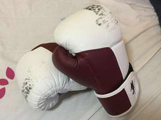 Hayabusa Tokushu 10oz Boxing Muay Thai Gloves White Burnt Crimson Authentic