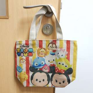 Disney Tsum Tsum Retro Style Canvas Tote Bag with Handle and Zip