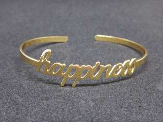 Happiness Lettering Silver and Gold Bracelet Bangle Wrist