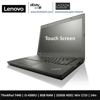 🚚 Lenovo ThinkPad T440 Laptop 14in Notebook 2in 1 touch screen Intel Core i5 4th Gen 4300U 1.9Ghz 8GB RAM 320GB HDD Win 10 Pro Used One Month Warranty 2x Batteries upto 4hours