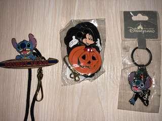 香港迪士尼樂園 米奇 史迪仔 掛繩 鎖匙扣 Hong Kong Disneyland Mickey Stitch Key chain