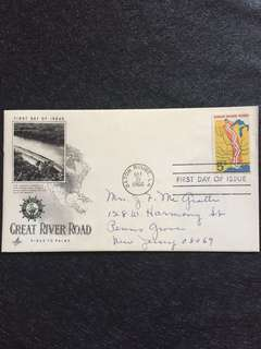 US 1966 Great River Road FDC stamp
