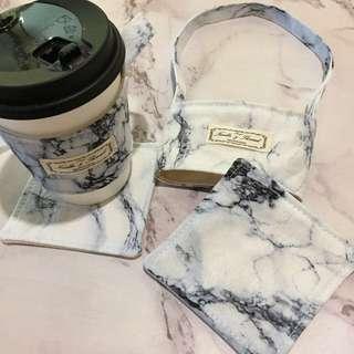 【全新品/日本布】環保手作飲料杯套/杯墊 - 大理石款
