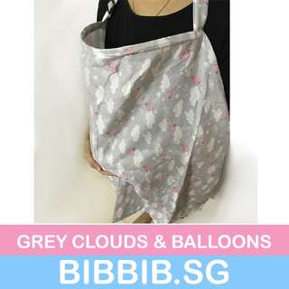 Breastfeeding Cover - Grey Clouds and Balloon