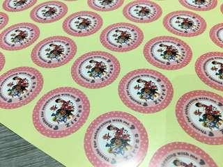 Light Pink Paw Patrol Birthday 30pc Stickers