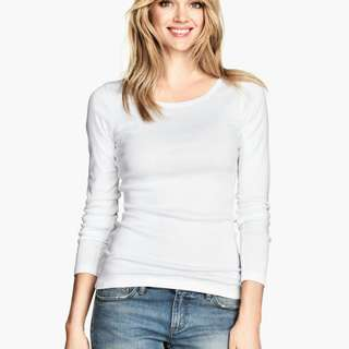 BNWT H&M White Long Sleeve Top