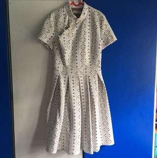 LB Vintage cheongsam inspired white dress with laser cut design