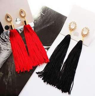 E08 Diamond Statement Tassel Earrings