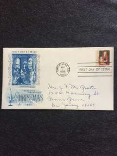 US 1966 Christmas FDC stamp