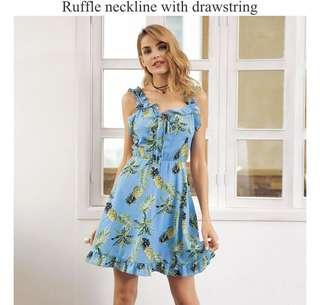 PO - ruffle neck strap print Backless shirred tie up mini dress