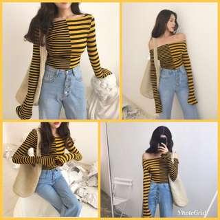 Stripe Knitted Sweater (Yellow)