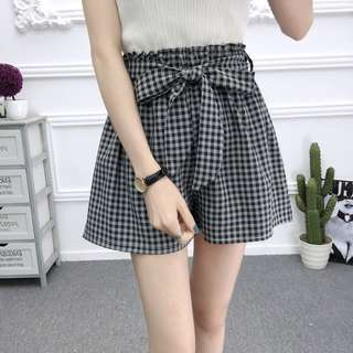 #519 Gingham Elastic Waist Self Tie Ribbon Shorts (PO)